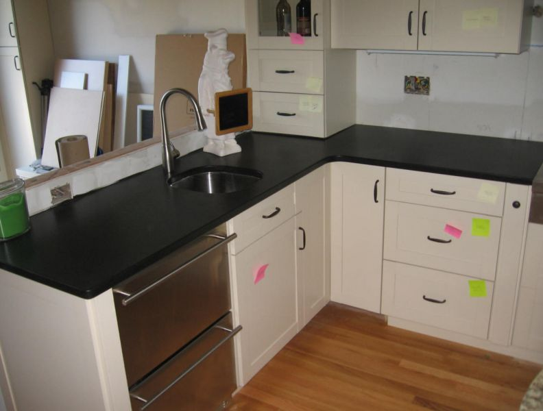 Captivating Granite Absolute Black Honed Kitchen Countertop U0026 Santa Cecilia Island Top