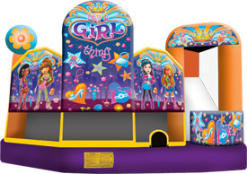 Girl Thing Theme 5-1 3D Combo Bounce House Hopper  WATER SLIDE or DRY SLIDE image - Jacksonville, FL