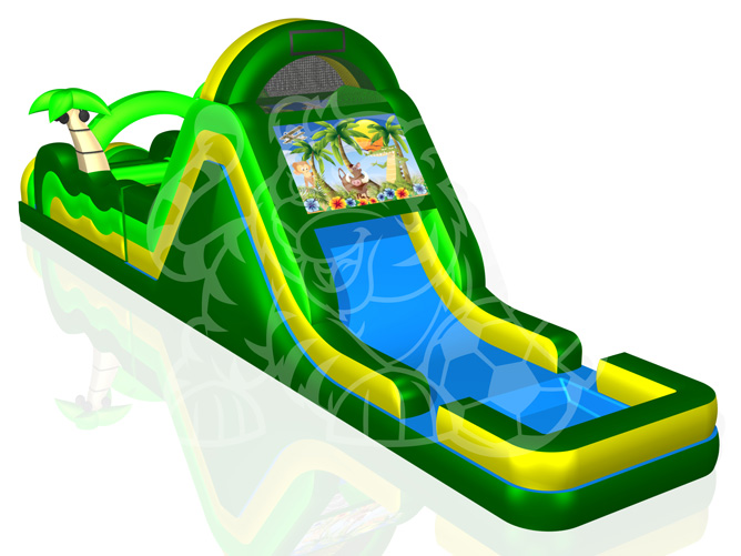 60' Tropical Island Double Lane Obstacle Course Bounce House Waterslide WET or DRY image - Jacksonville, FL