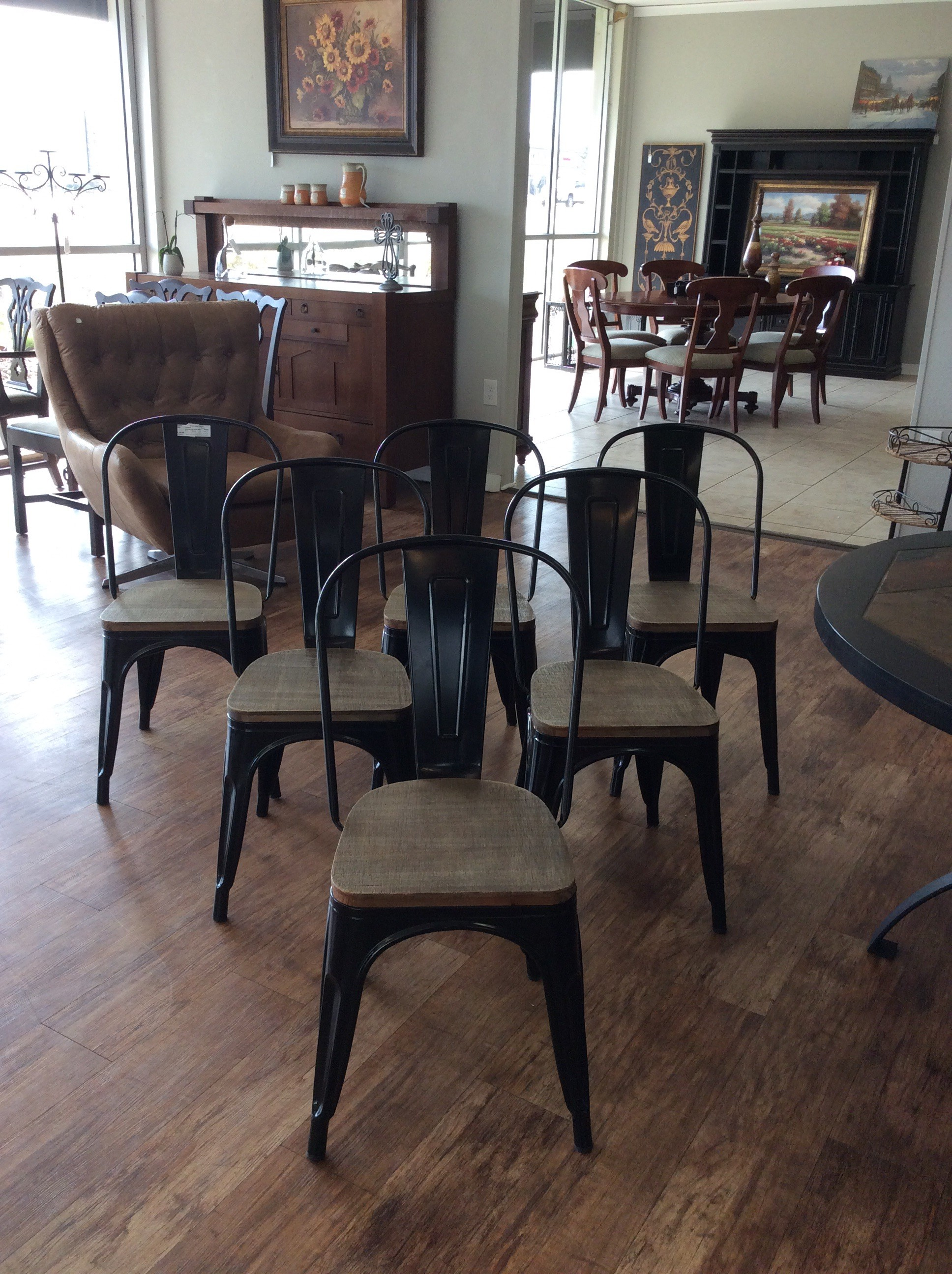 This is a great set of  metal slat back side chairs! They are metal dining chairs with solid elm wood seats - very durable. They're functional and convenient too as they can be stacked to save space and easily carried. This set is suitable for both the indoor and outdoor environment.