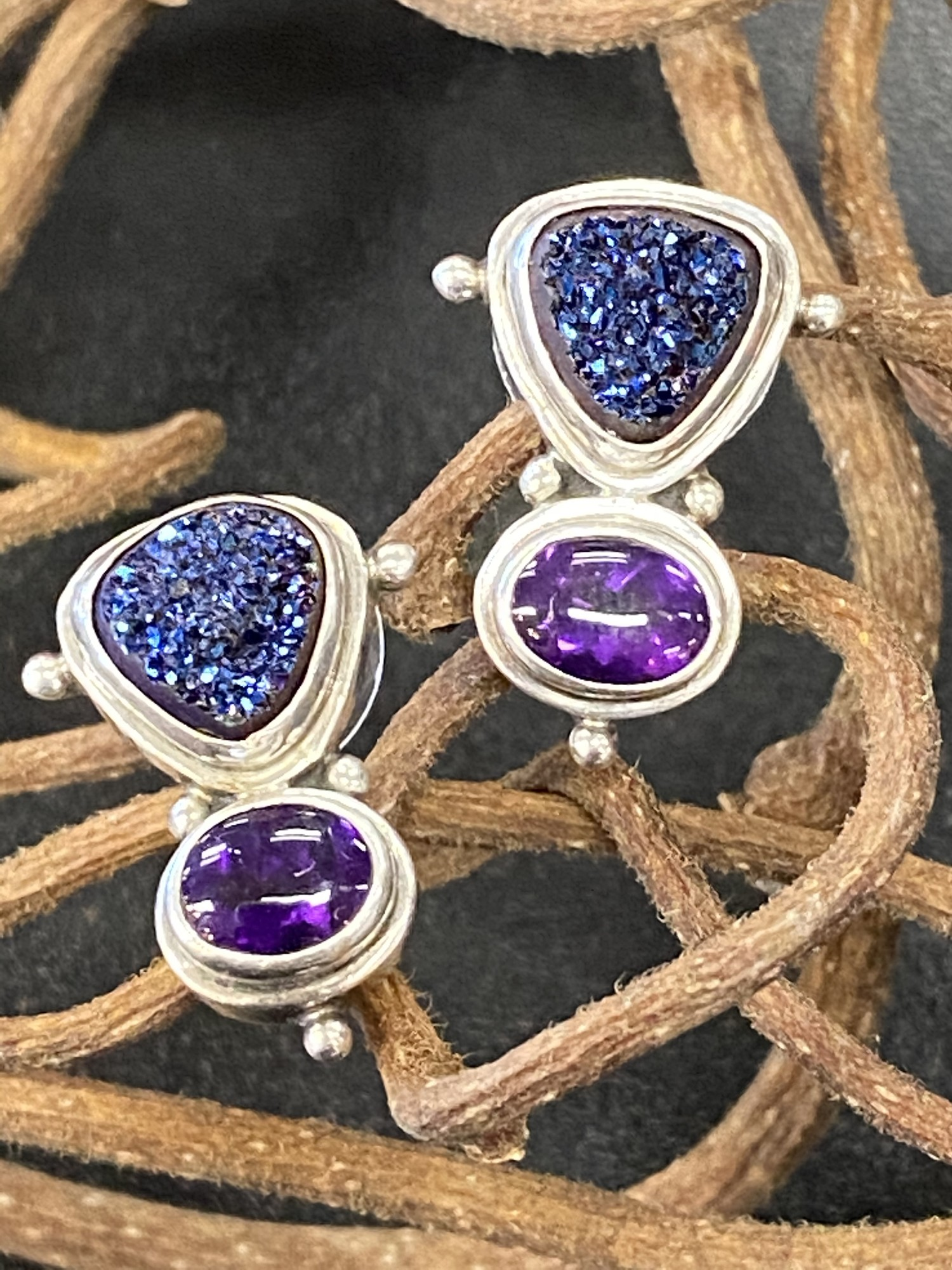 .925 Druzy & Amethyst Earrings<br /> Post Back
