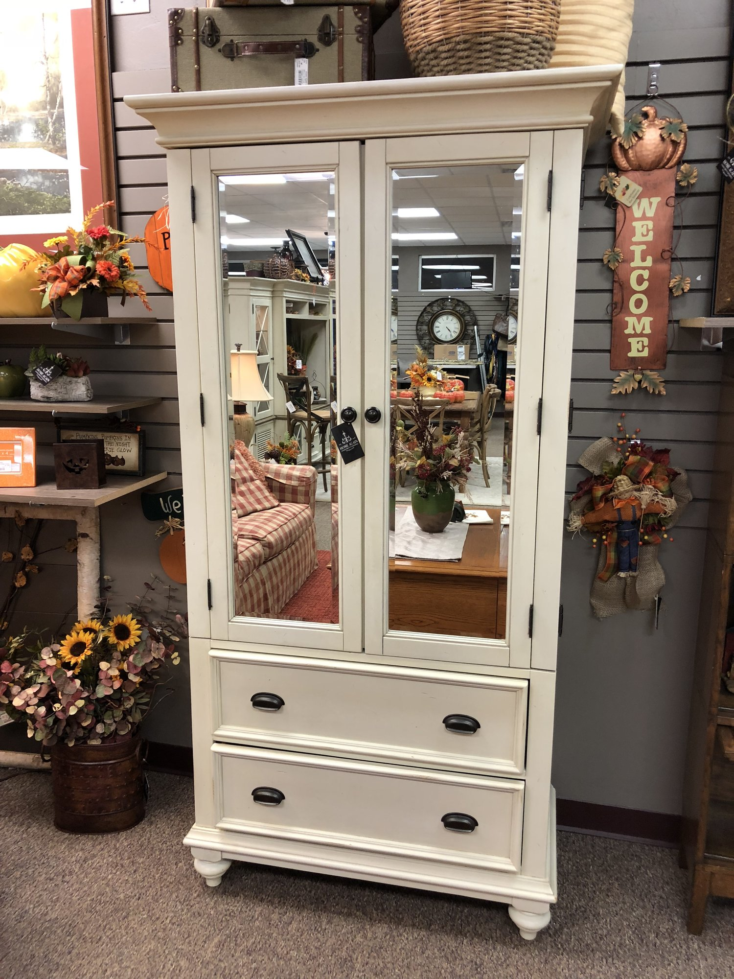 Beautiful glass front  armoire  with cedar and felt lined drawers