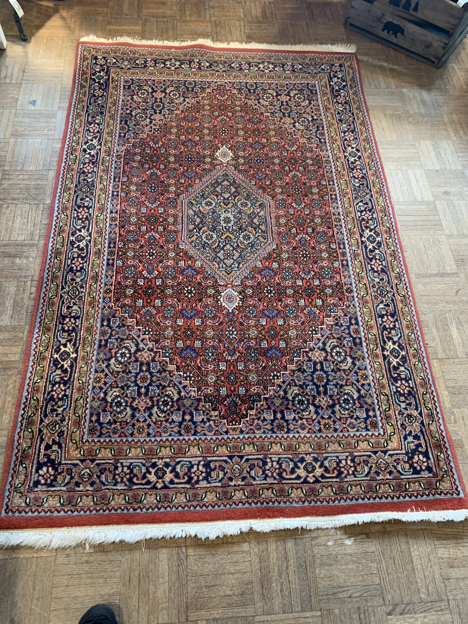 "Bidjar Oriental Rug<br /> Size: 3'10"" x 6'2""<br /> Purchased from Jacobsons in Syracuse, this Persian rug was made in Western Iran.  The high knot density makes it robust and dirt resistant.<br /> Valued at $1,800 this is a great buy at $650"