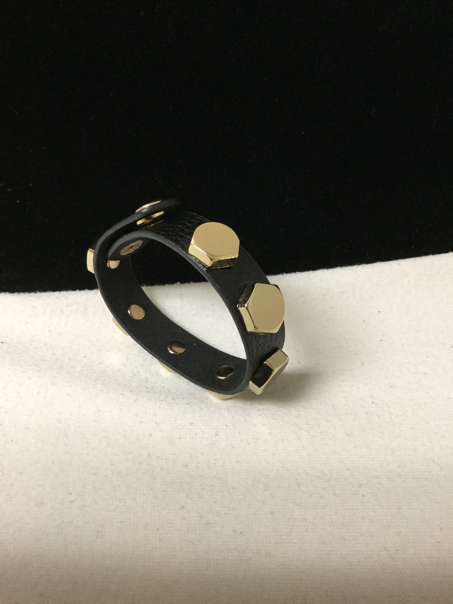 Leather Studded Snap Cuff<br /> Black/Gold<br /> 10.00