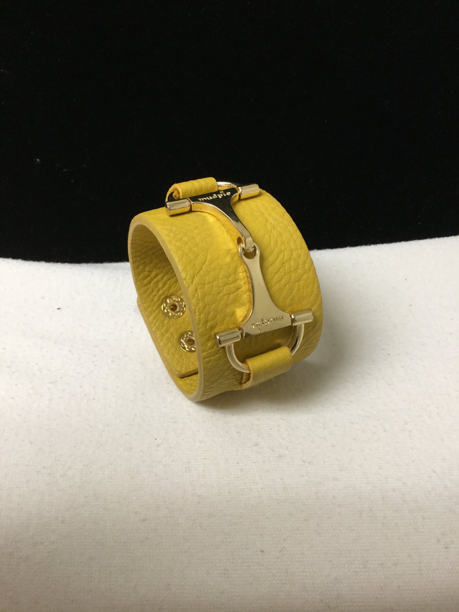 Mud Pie Leather Bit Cuff<br /> Mustard<br /> 10.00