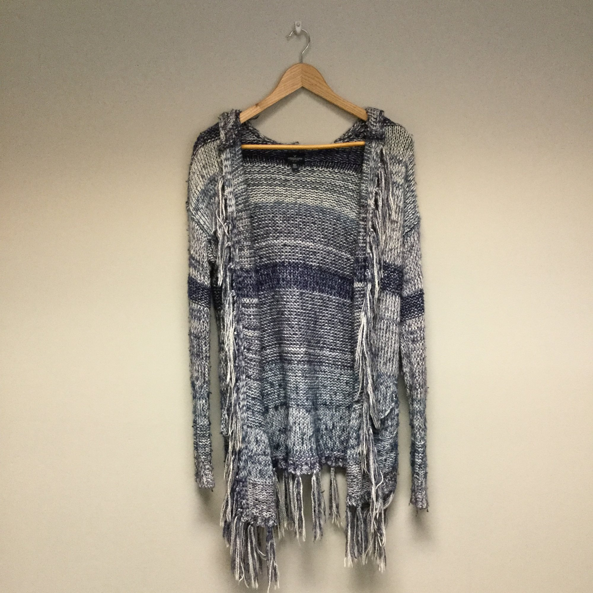 American Eagle Knit Fringe Open Cardigan Sweater<br /> Size XS<br /> Purple/White<br /> $10.50