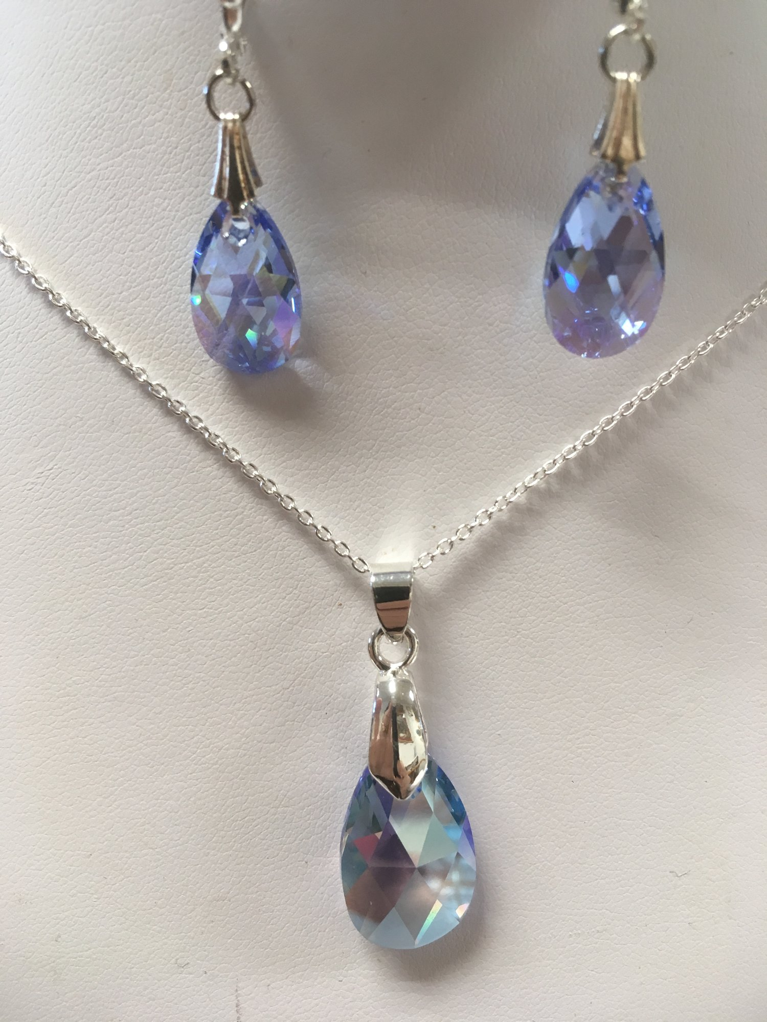 Swarovski Light Blue Set,<br /> <br /> Earings and Necklace<br /> <br /> Locally crafted