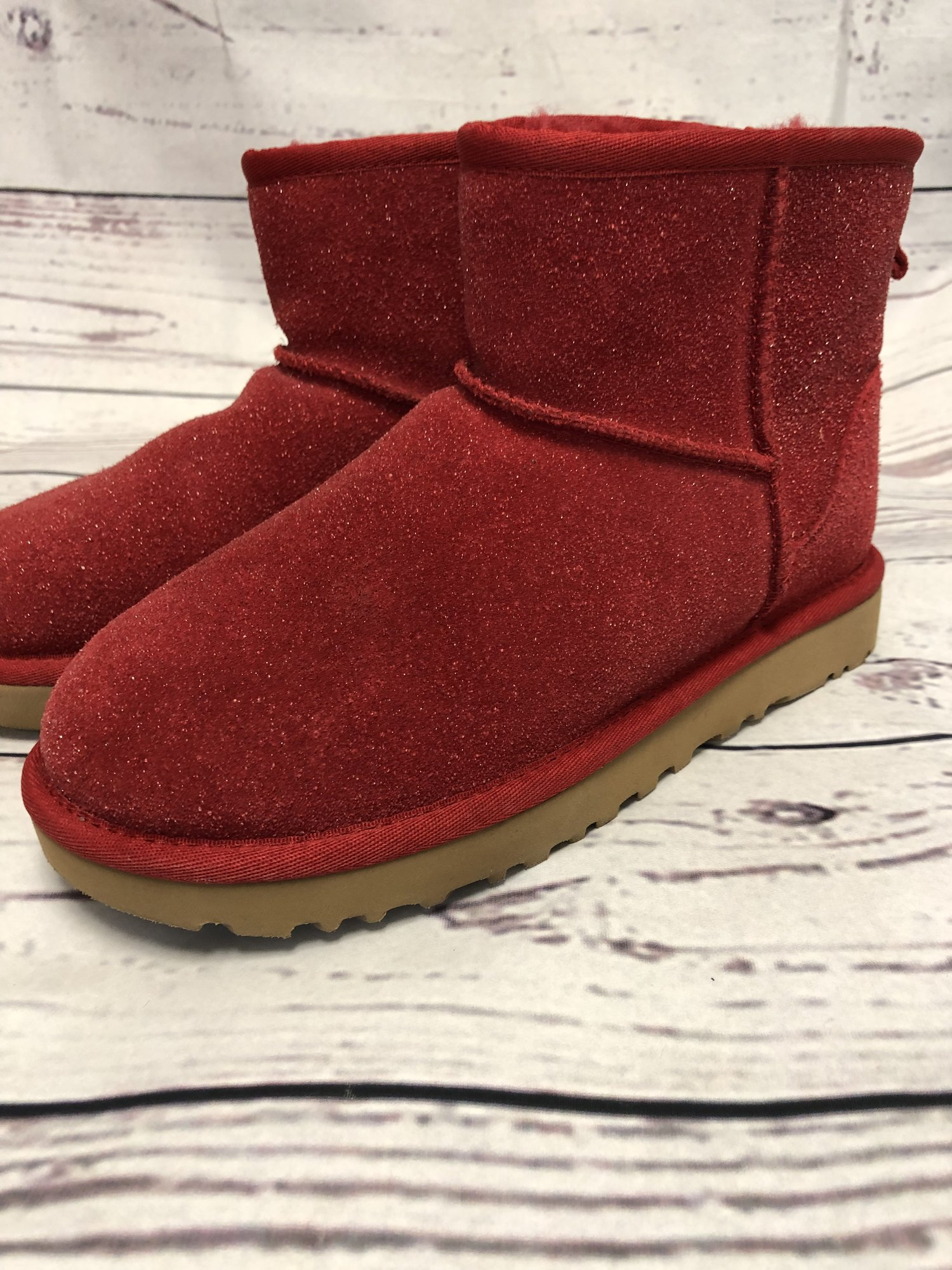 Ugg Boots in gently used condition. The red color is beautiful and so unique.