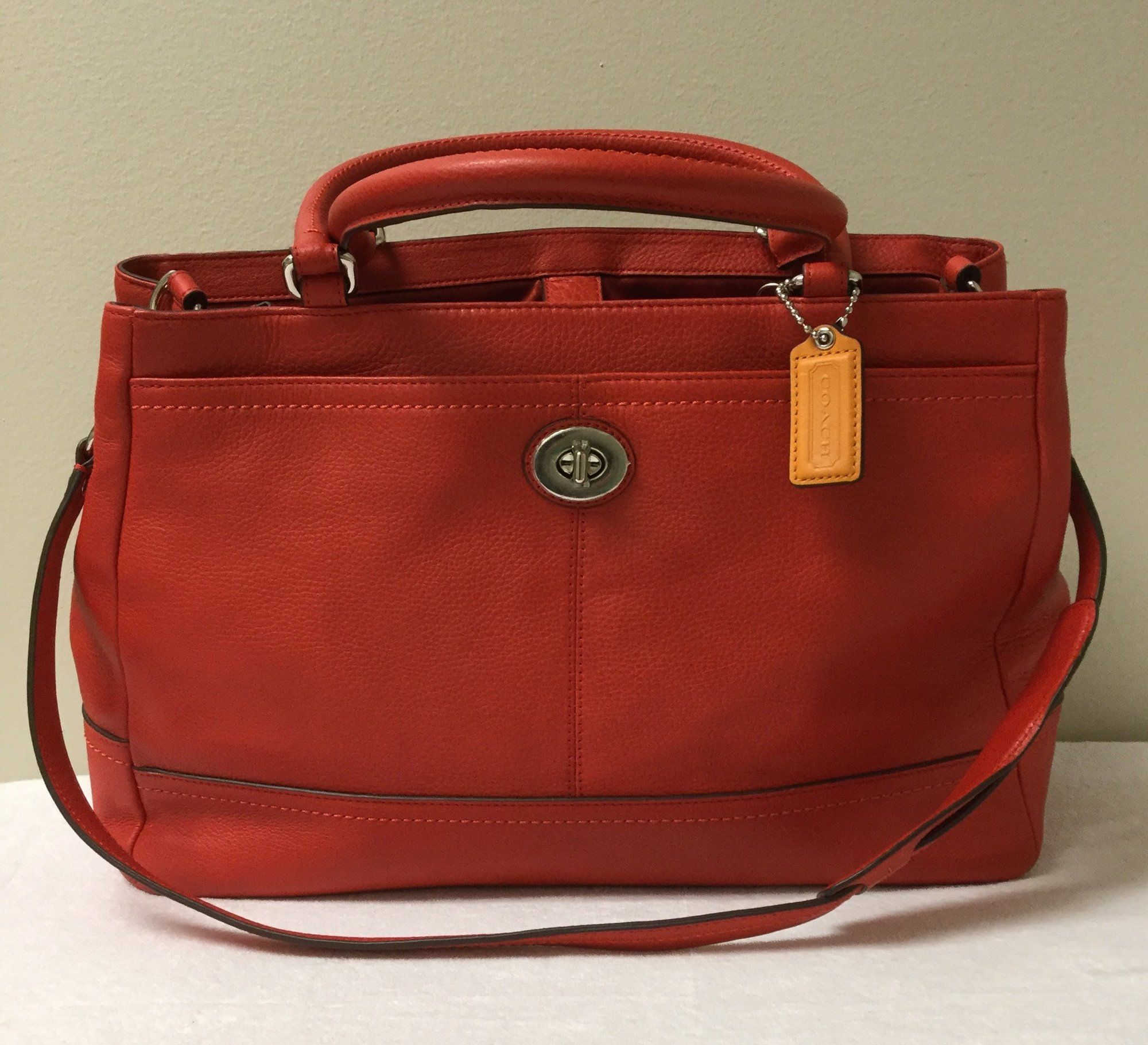 Coach 3 Handle Leather Messenger<br /> Size M/L<br /> Red<br /> $117.00