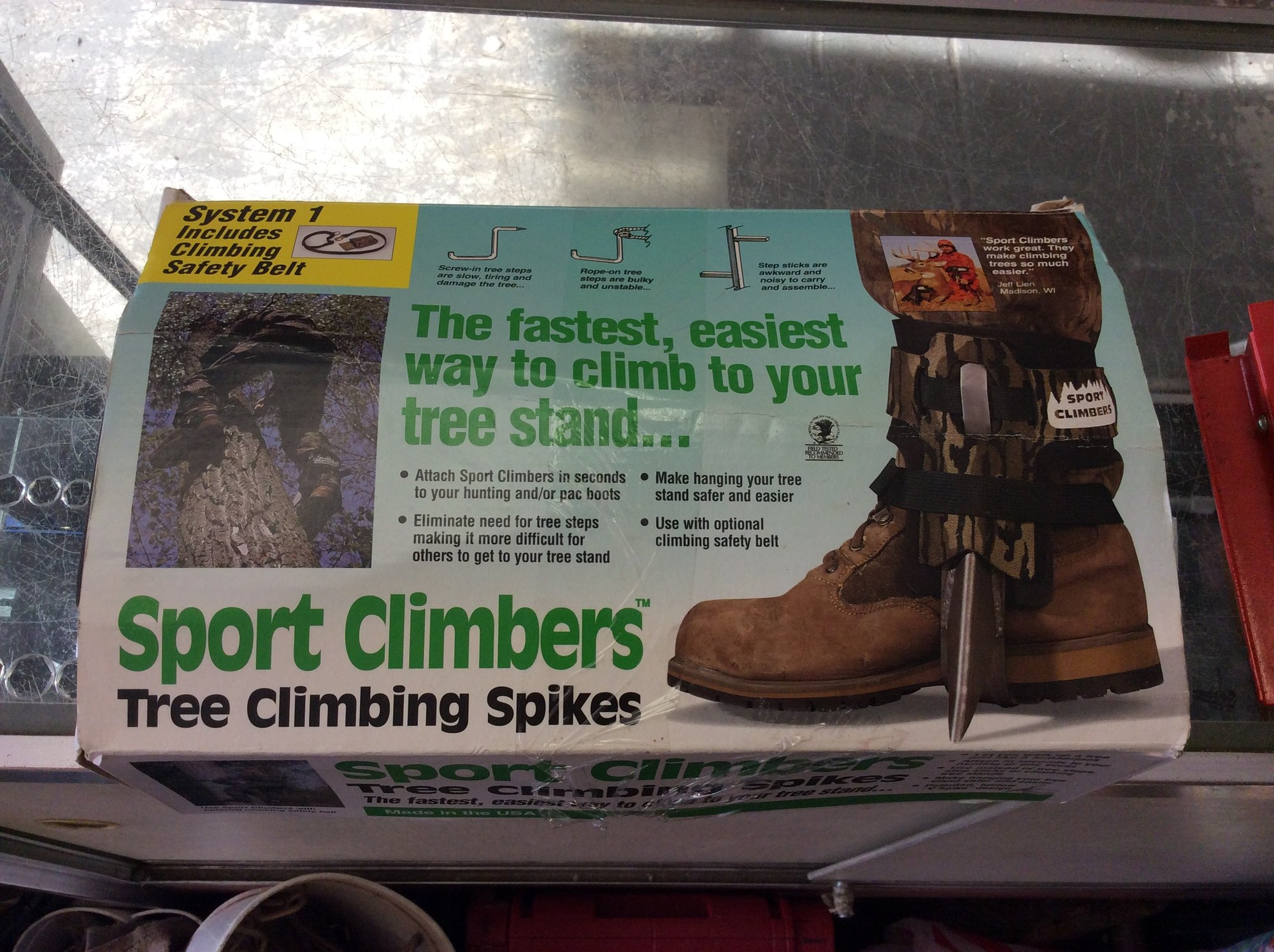 SportClimbers Tree Climbing Spikes - Includes Strap-On Boot Spikes and Safety Belt.<br /> <br /> *NEVER USED*