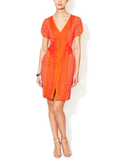 Lace Dress With Organza O, Orange, Size: 8