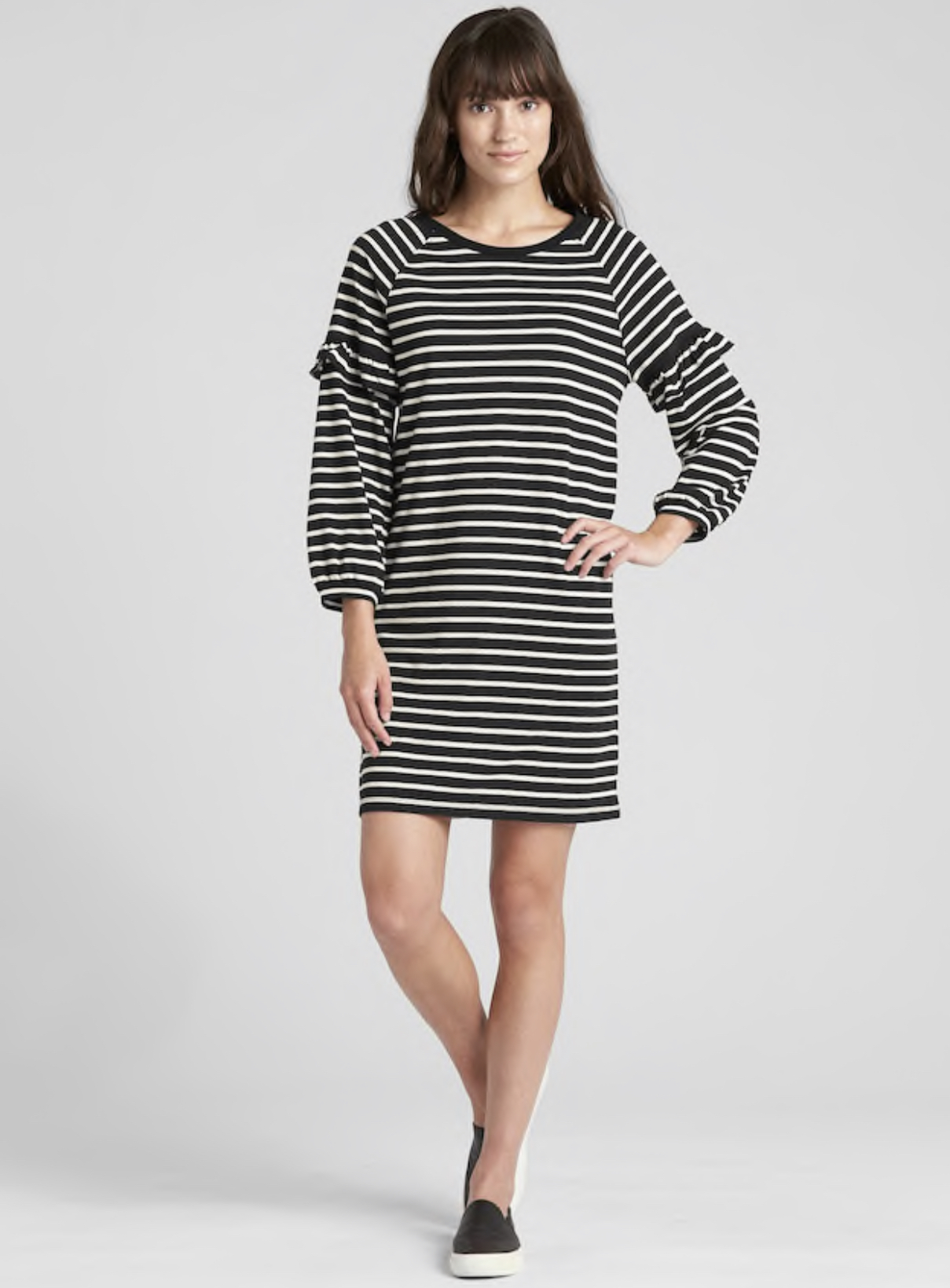 GAP Ruffle Balloon Sleeve Stripe Dress in black/ white size small EUC orig.r tl: $49.97<br /> <br /> &quot;Soft, fluid knit.<br /> Long raglan balloon sleeves, shirring at flat cuffs.<br /> Ruffle trim detailing at upper sleeves.<br /> Rib-knit trim at crewneck.<br /> Assorted allover stripes.&quot;<br /> <br /> Photo and description credits: gap.com
