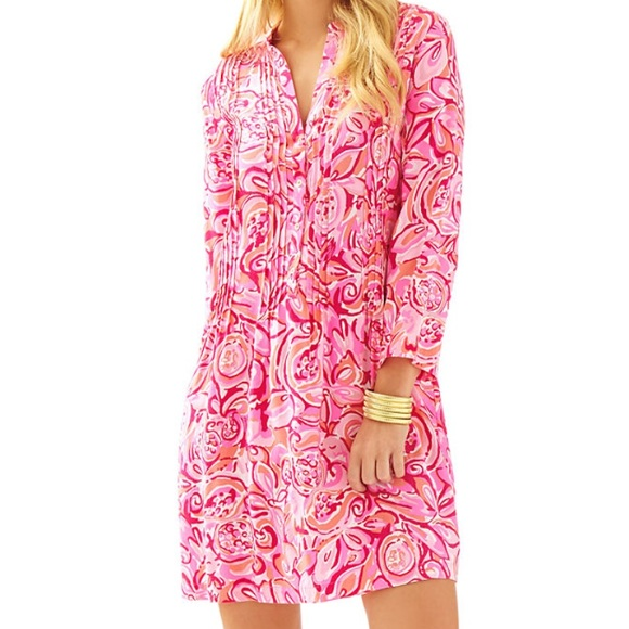 Lilly PulitzerSarasota Pintuck Tunic Dress, Pink, Size: XS, like new condition.<br /> <br /> &quot;<br /> The Sarasota Tunic Dress is a soft tunic inspired by our love for the sarasota tunic. Wear this to lunch or for a day in town - it&#039;s an easy style that can easily be dressed up or down.<br /> Tunic Dress With Pin Tuck Details. 20&quot; From Natural Waist To Hem. Tunic Rayon - Print (100% Rayon). Hand Wash Cold. Imported. &quot;<br /> <br /> Photo and description credits: lillypulitzer.com