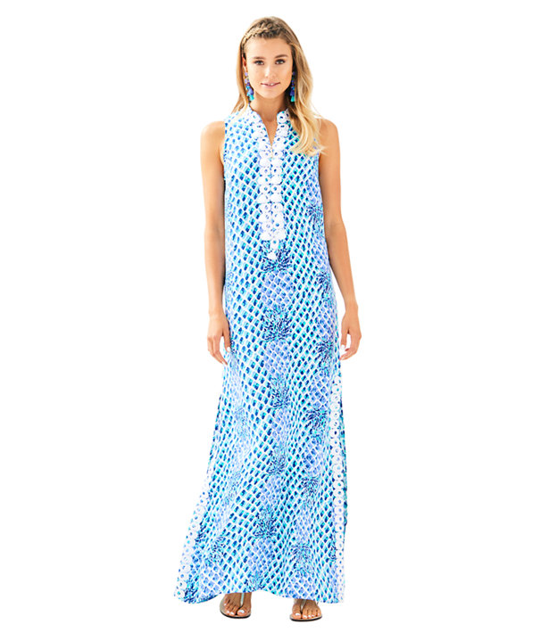 Lilly Pulitzer Jane Maxi dress in Excellent condition size 4<br /> &quot;Daytime maxi dresses are a resort staple and the Jane Maxi Dress is our newest addition. Jane shift + maxi length= resort perfection!<br /> <br /> You&#039;ve got the hook-up: built-in lingerie snaps make this dress bra-friendly.<br /> Easy Engineered Maxi Dress With A Collar, Center Front Zipper And White Lace Around Neckline And Side Slits.<br /> Textured Rayon - Print (100% Rayon).<br /> Hand Wash Cold. Separately.<br /> Imported.&quot;<br /> <br /> Photo and description credits: lillypulitzer.com