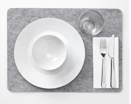 Grey Felt Placemats X6, None, Size: None