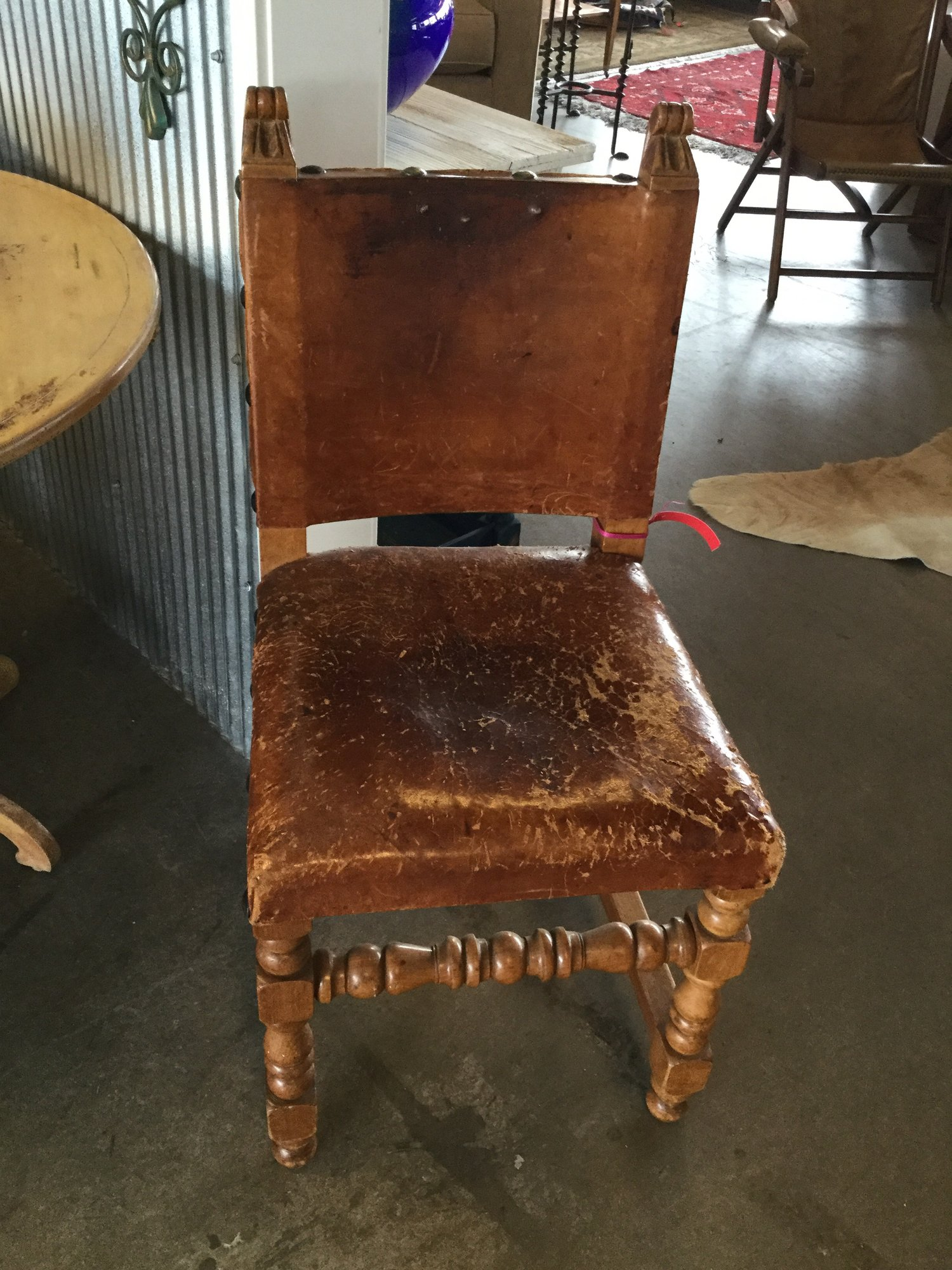 Old Leather Chair  W Studs, Dk Tan, Size: 17x18""