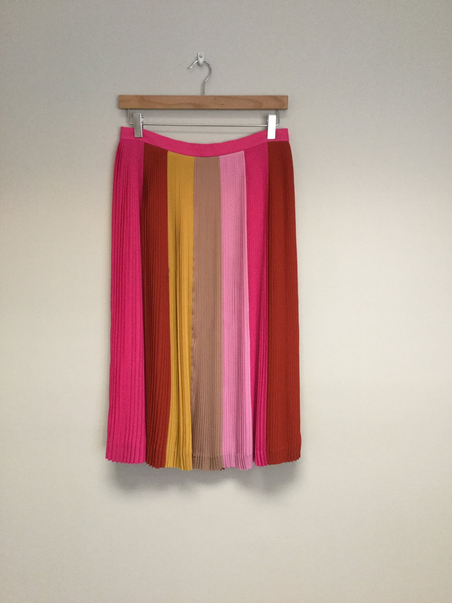 JCrew Pleeted Stripes<br /> Size 6<br /> Pink/Red/Mustard<br /> $49.00