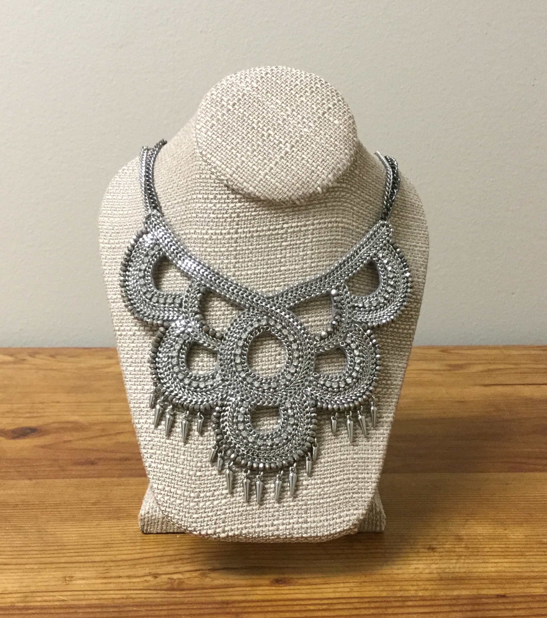 Stella &amp; Dot Fabric Statement Necklace<br /> Silver<br /> $54.00
