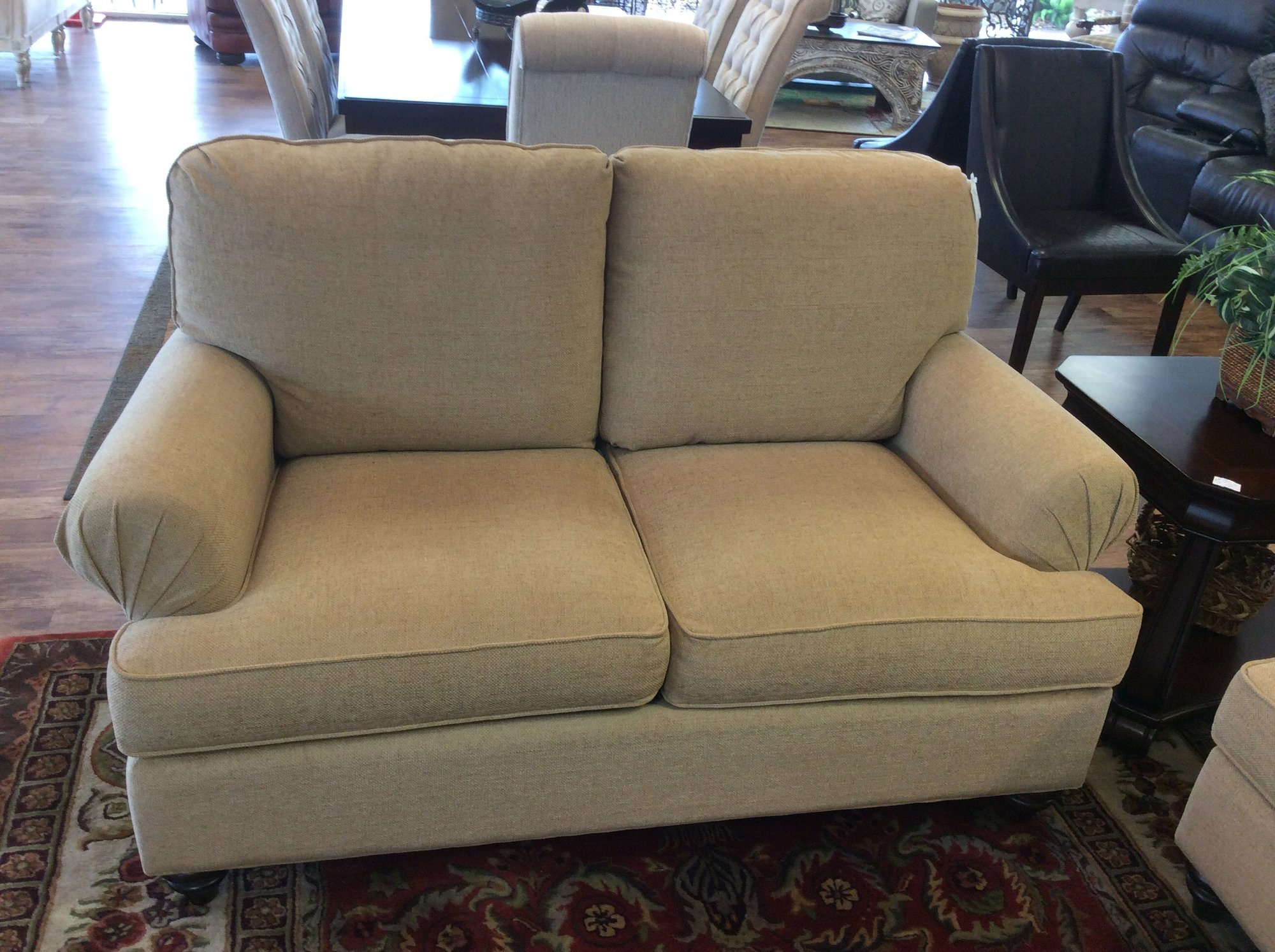 This is a gorgeous BASSETT loveseat. It came in with a matching sofa, that is available for purchase seperately, as well. The wheat colored upholstery is in great shape, and all of the cushions are removable for easy cleaning.
