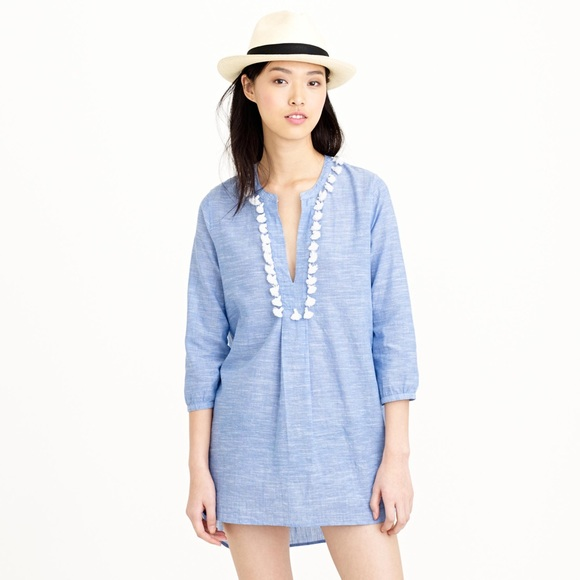 J. Crew Pom-pom Beach Tunic, Blue, Size: Large EUC<br /> <br /> &#039;You&#039;ll want to book a vacation just to have an excuse to wear it.<br /> <br />     Cotton/linen.<br />     Long sleeves.<br />     Machine wash.<br />     Loose fit.<br />     Falls 31&quot; from high point of shoulder (based on size S).&quot;<br /> <br /> Photo and description credits: jcrew.com