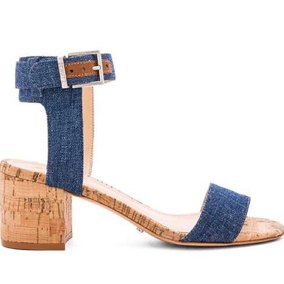 Schultz, like new, never worn, Jinger Dress Sandal, Denim, Size: 8.5<br /> &quot;    100% Leather<br />     Imported<br />     Synthetic sole<br />     Block-heel sandal featuring cork overlays and denim-inspired straps<br />     Adjustable buckle at ankle strap&quot;<br /> <br /> Photo and description credits: amazon.com