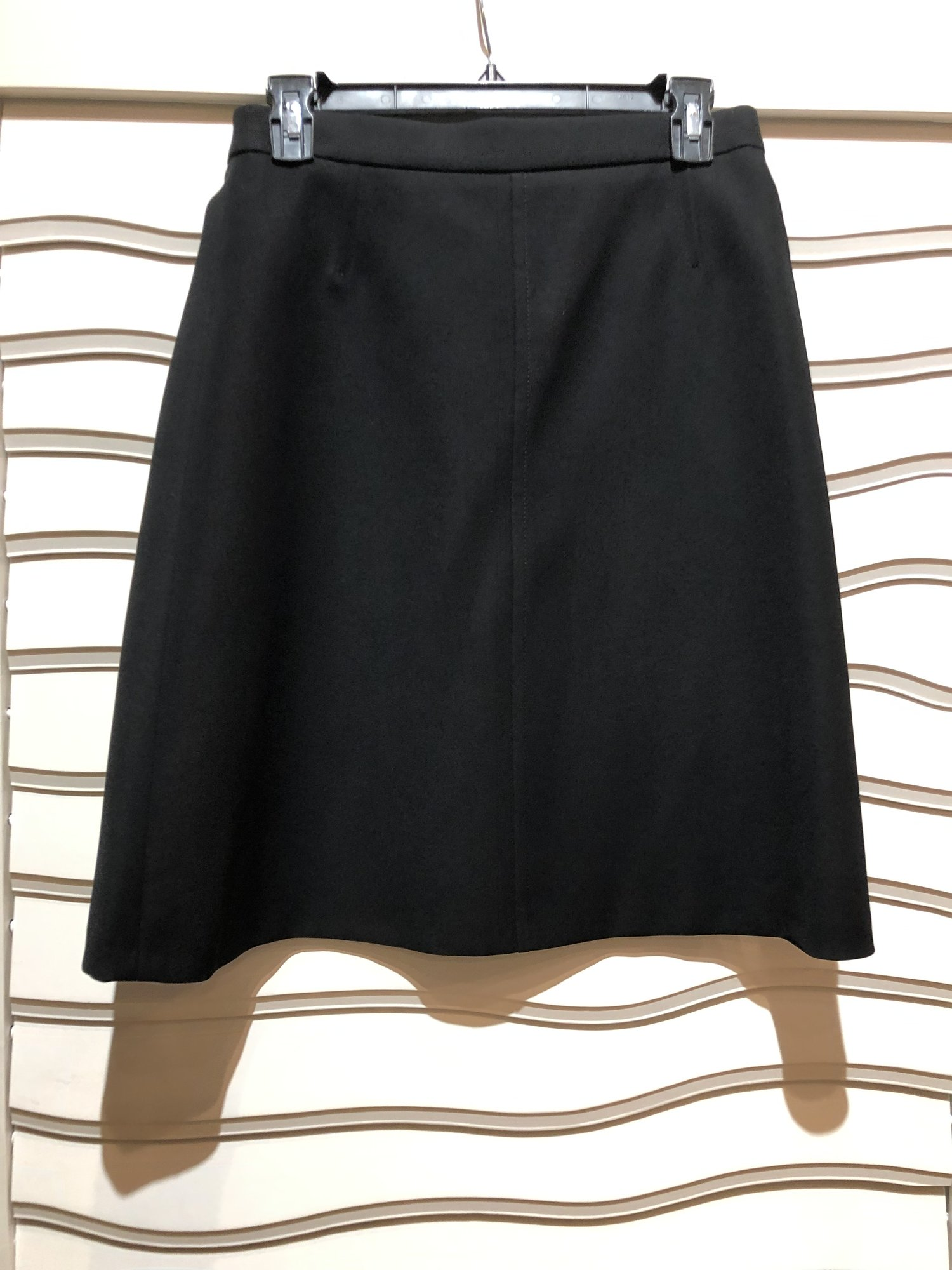 "Louis Vuitton Black Skirt, Black, Size: 38<br /> Mint condition. Waist measures 28"", length 22 1/4"".<br /> gold zipper in back."