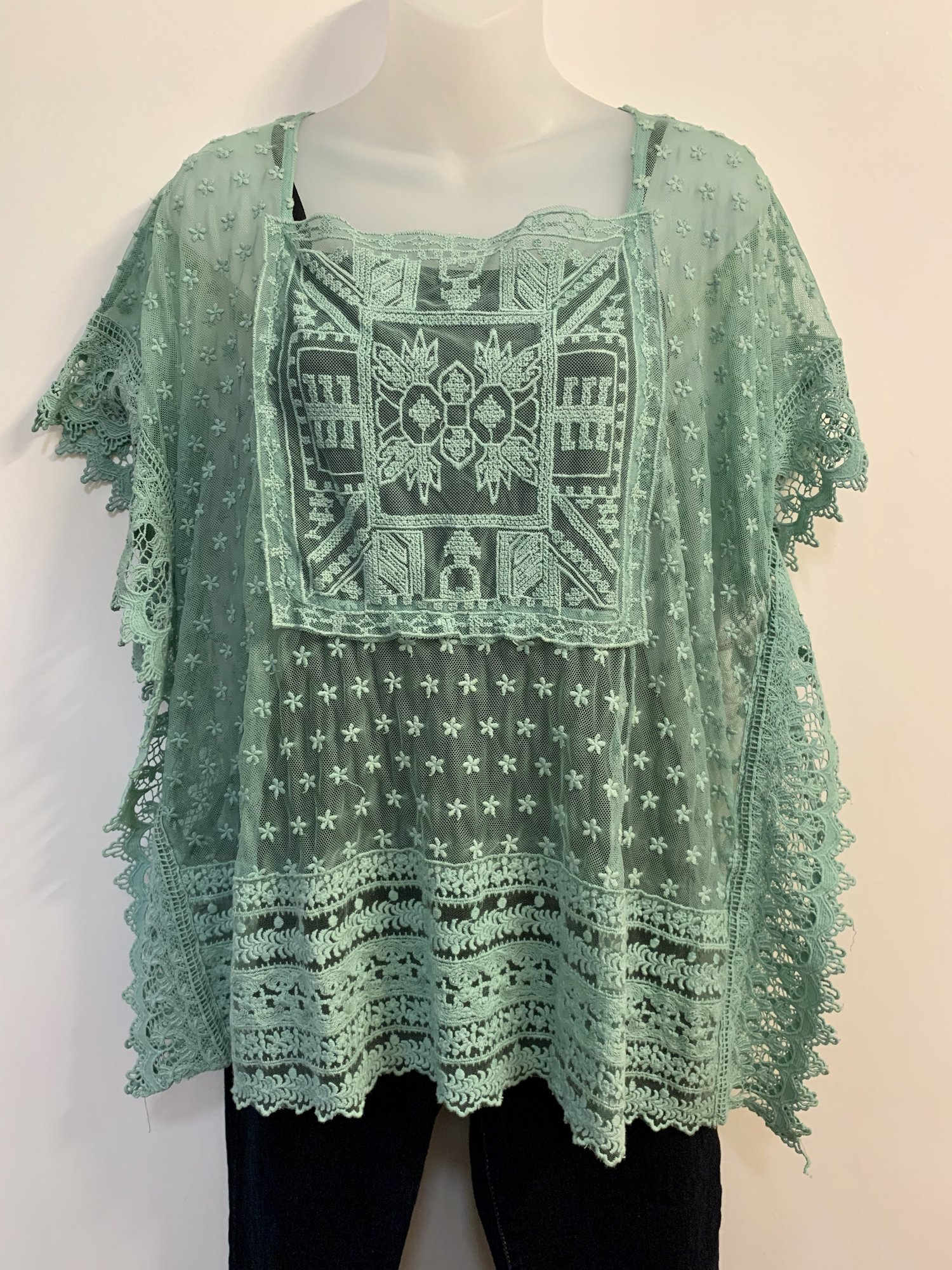Sundance Lace Top<br /> Seagreen, Size: Medium