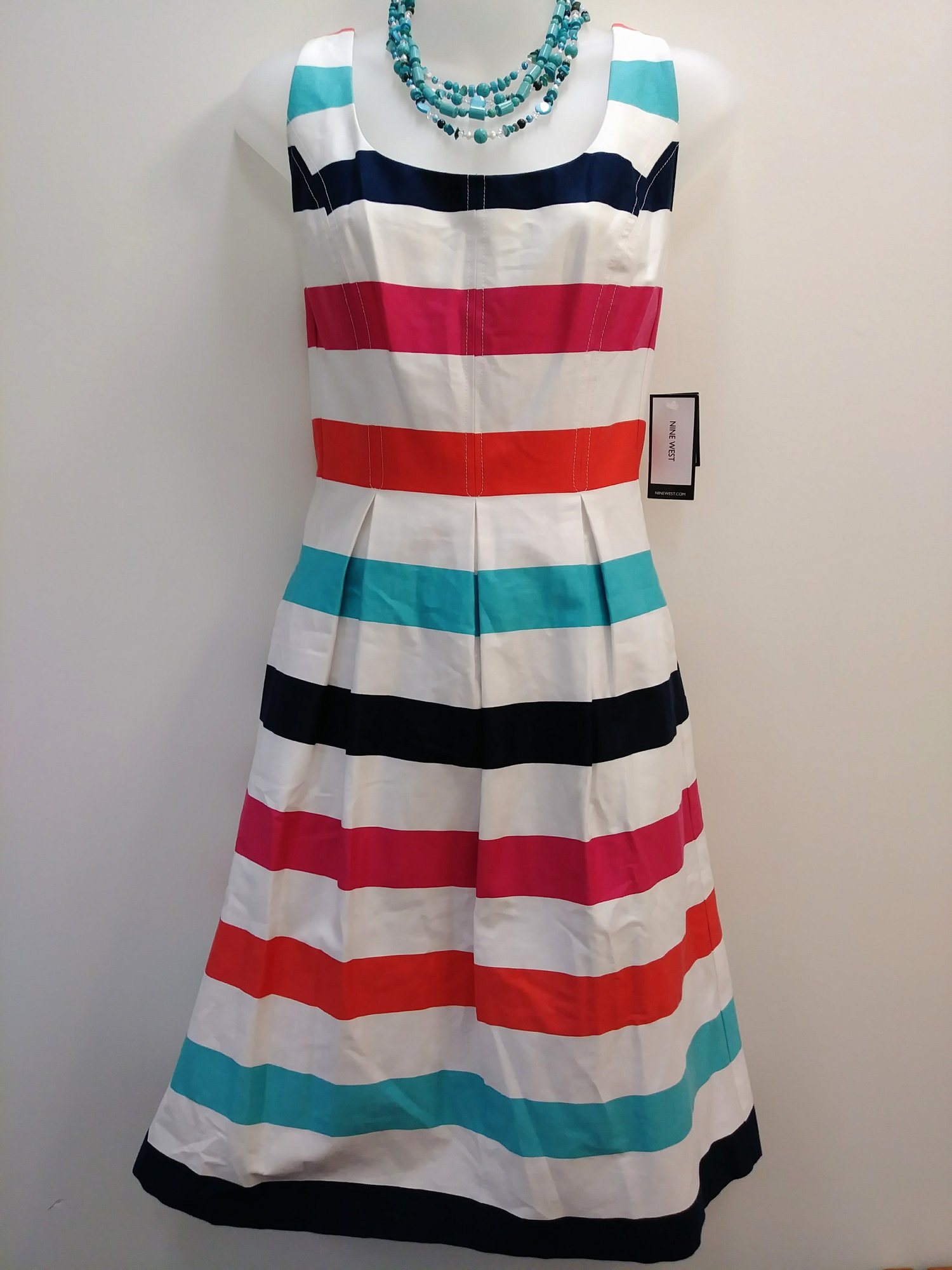 NEW Nine West<br /> Striped Dress with Pockets<br /> White, Teal, Navy, Pink, and Coral<br /> Size: 8