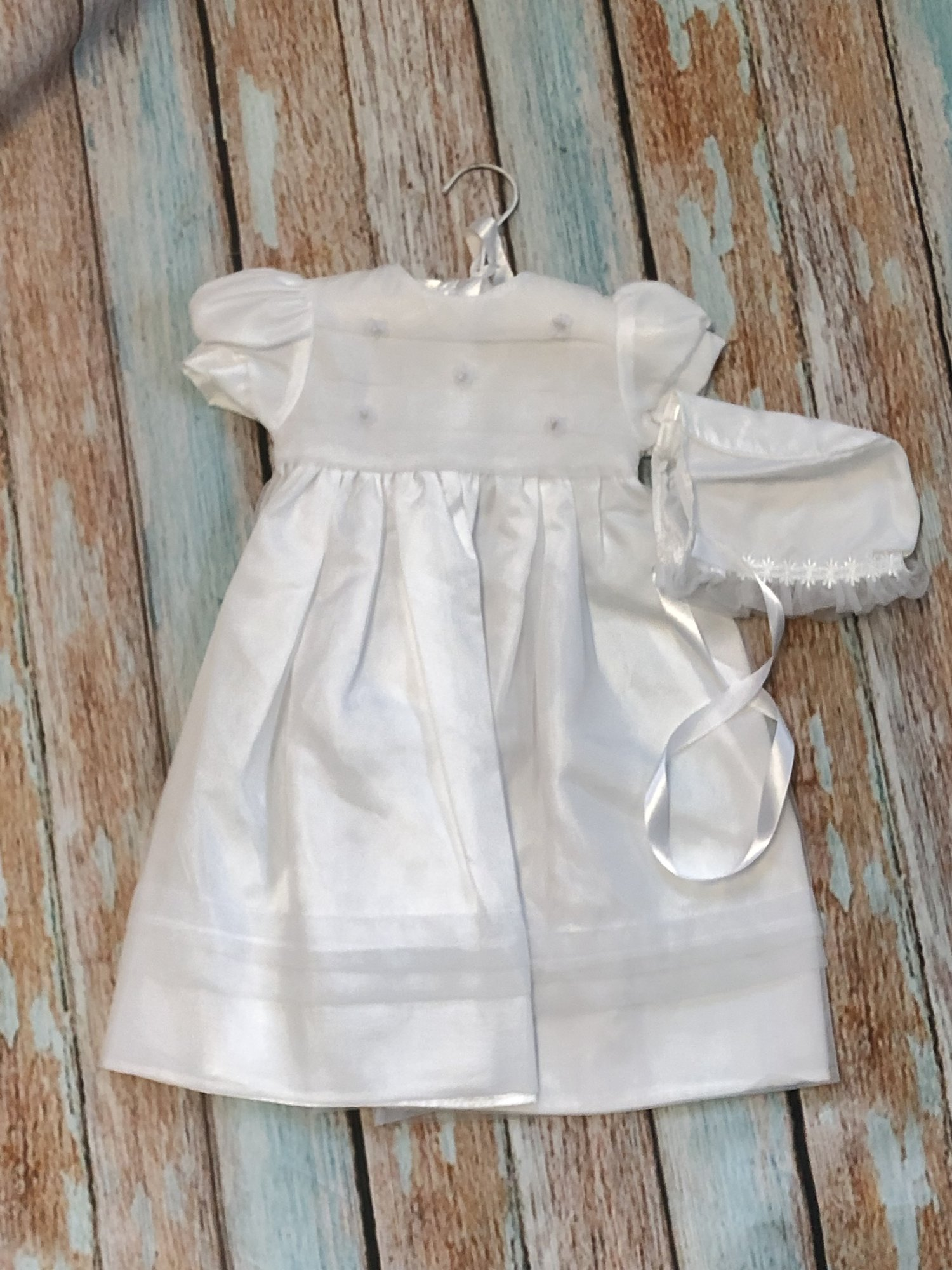 NEW Children's House Christening dress with matching hat.  The bodice of the dress has organza pleats with tiny pearls in the middle of the roses.