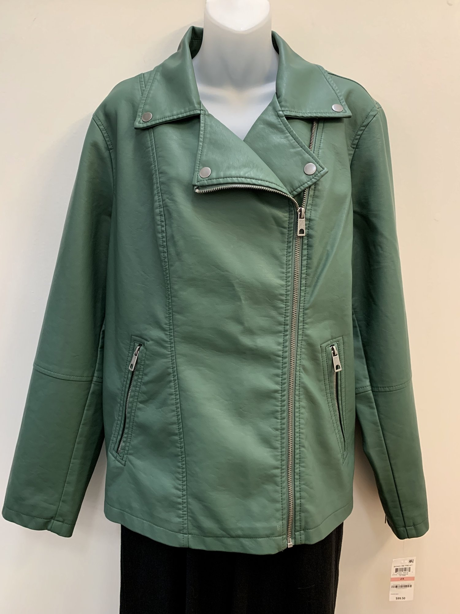 NEW Style & Co Jacket<br /> Faux Leather<br /> Forest, Size: 2X