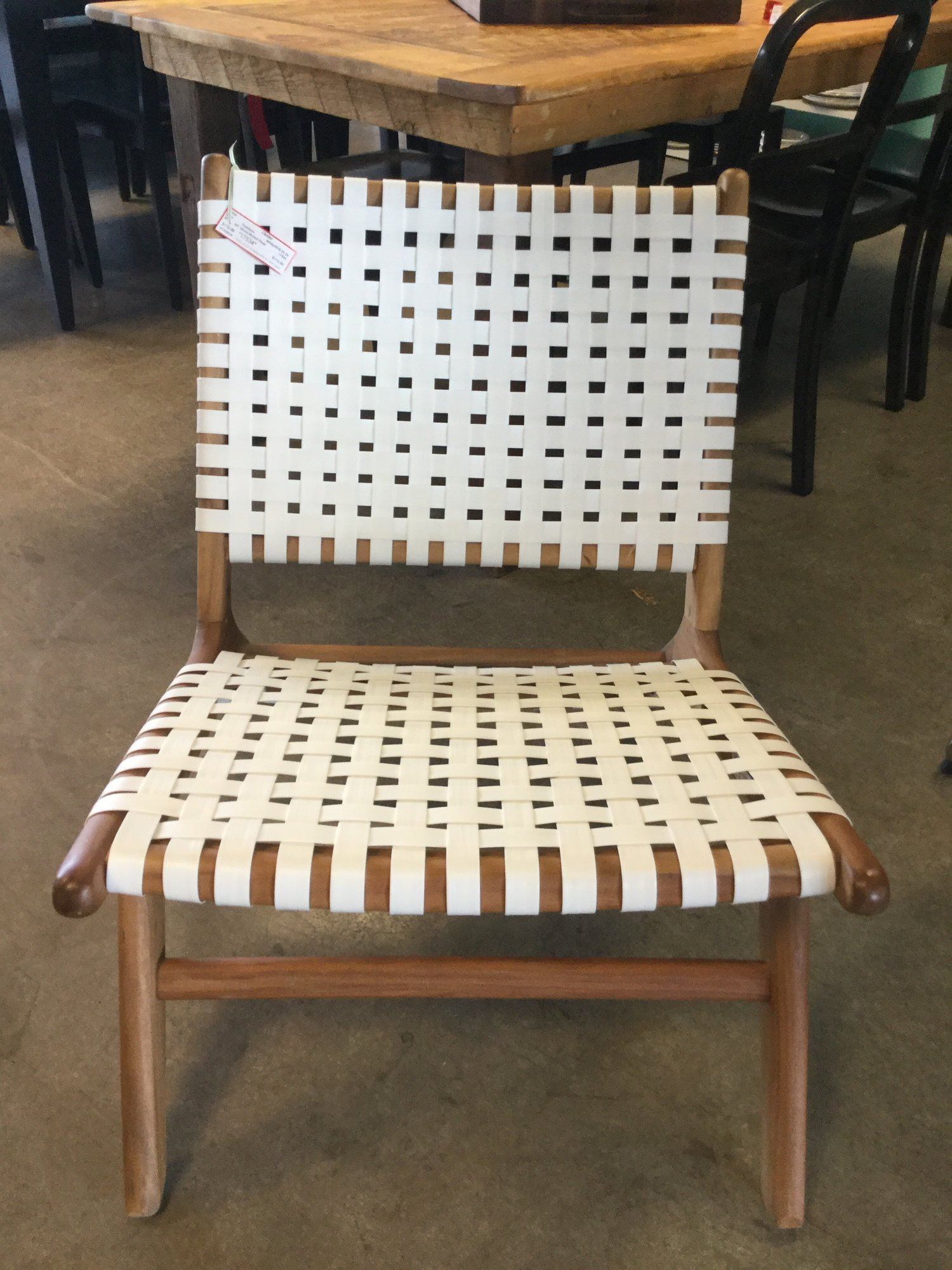"World Market Chair, White Plastic Slats/Wood Frame, Size: 16"" X 32"" X 28"""