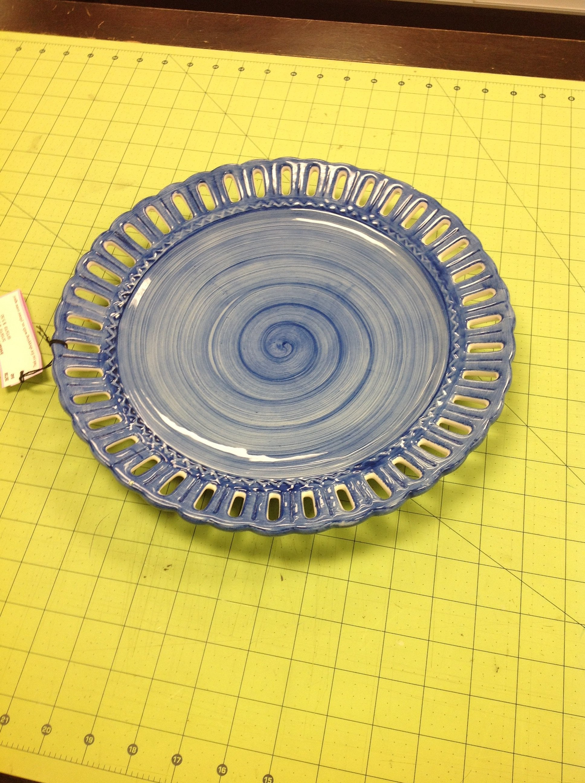 Open Work Platter, Blue, Size: 10 Inch