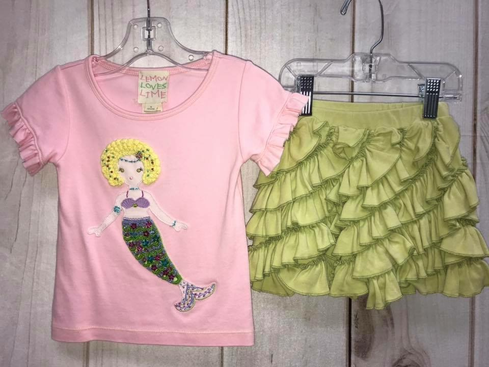 Lemon Loves Lime Brand<br /> Pink Mermaid Outfit<br /> Short Sleeve Shirt<br /> Green Ruffle Shorts<br /> Beaded/Yarn Mermaid on front<br /> Ruffle on Sleeves of shirt<br /> Toddler Size 3