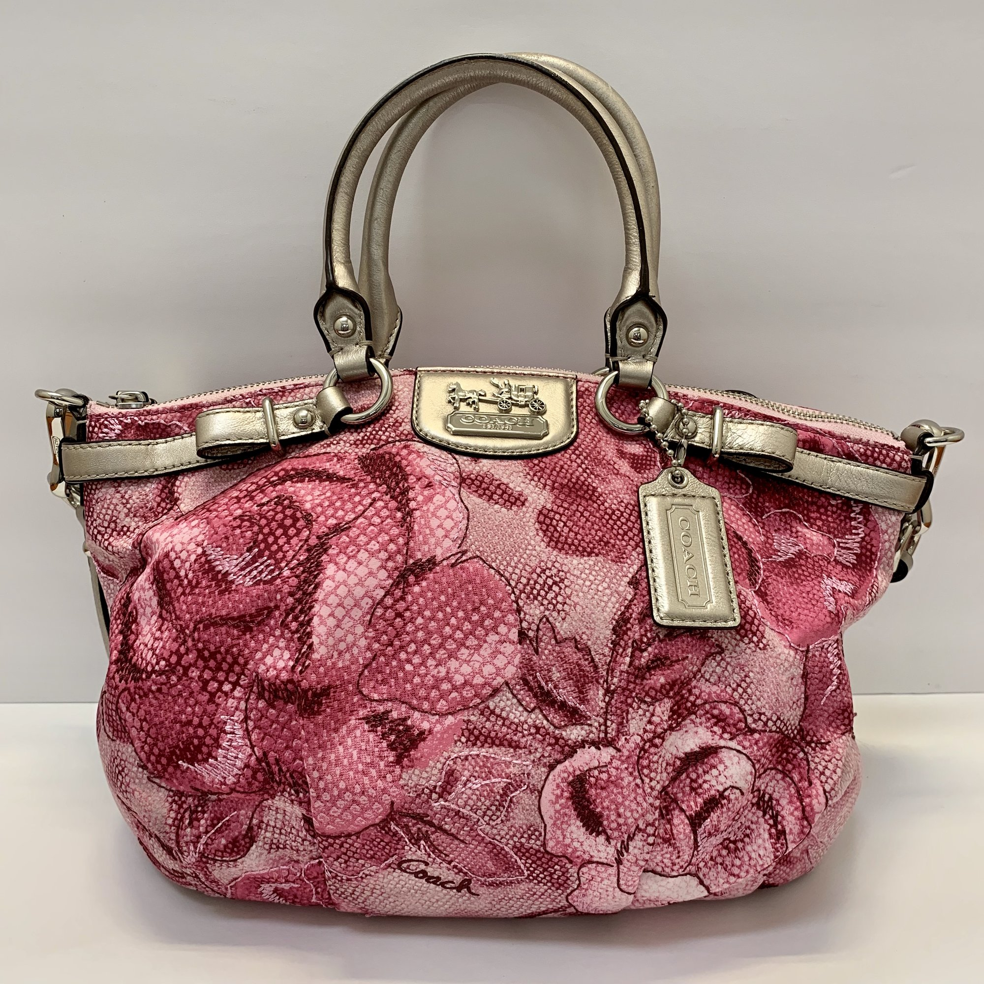 COACH Sophia Satchel<br /> Gorgeous Pink Rose Pattern with Silver Leather Trim