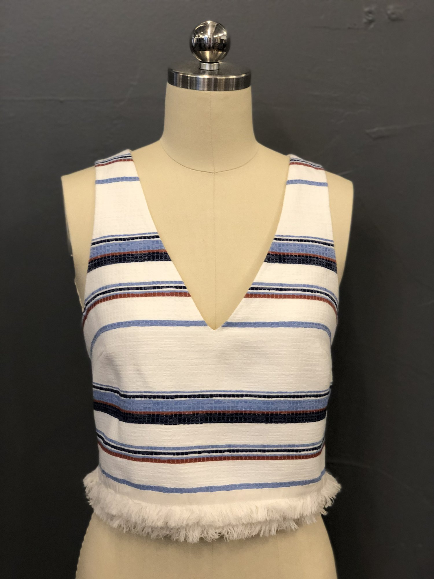 Intermix Stripe Crop Tank, Wht.Blu, Size: P<br /> <br /> 68% Acrylic, 19% Polyester, 13% Cotton<br /> 100% Polyester lining<br /> <br /> New With Tags<br /> Original Retail: $235