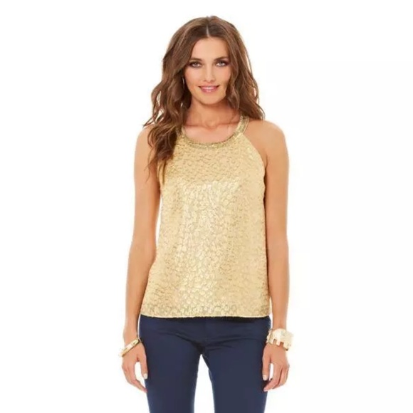 Lilly Pulitzer Corsica Beaded Halter Top, Gold, Size: Large