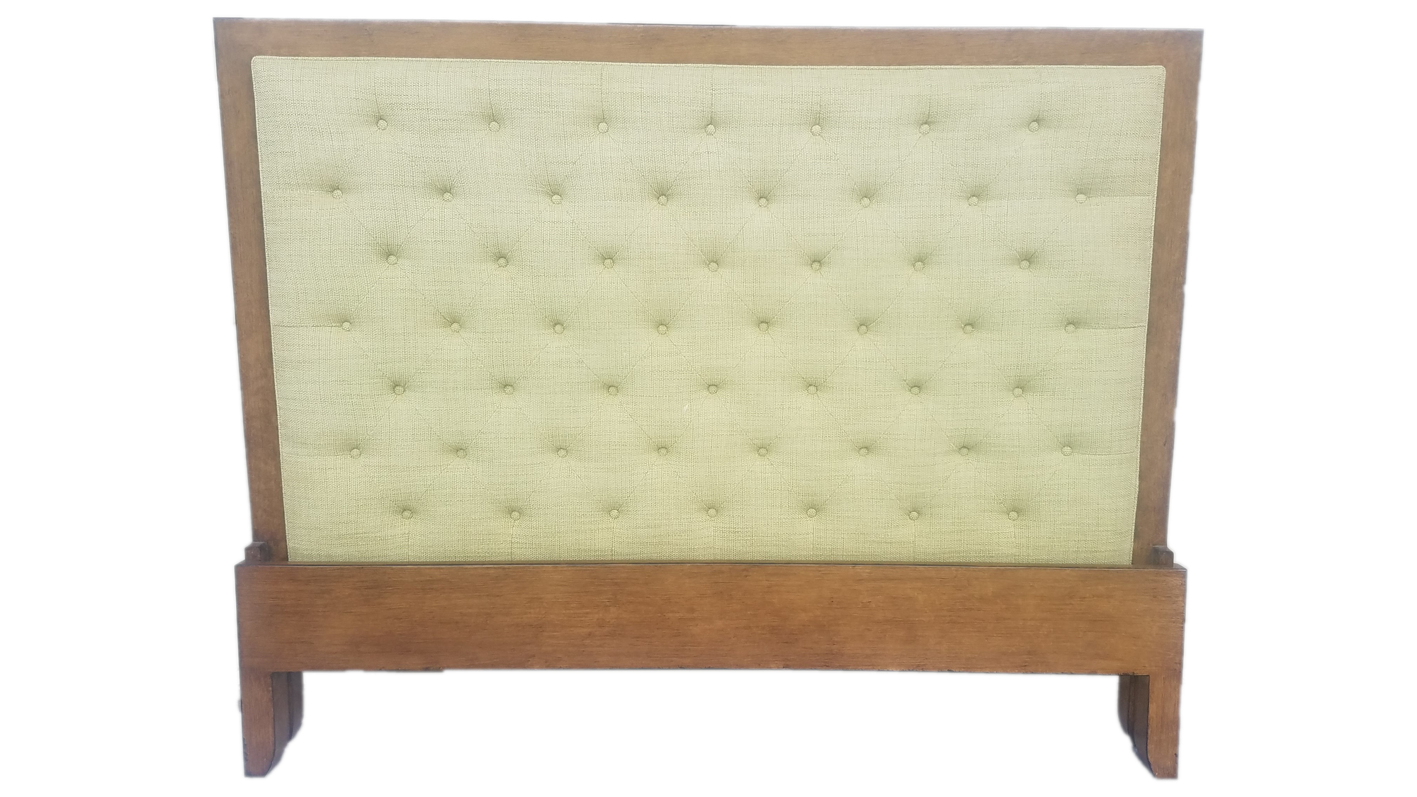 Green King Headboard tufted with teak boarder.  Excellent condition.