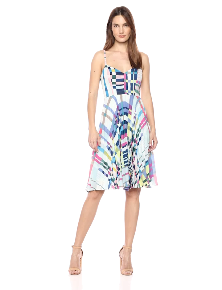 NWT Parker Magna Sleeveless Fit to Flare Pleated Midi Dress Orig. rtl: $298<br /> <br /> &quot;<br />     100% Polyester<br />     Imported<br />     Zipper closure<br />     Dry Clean Only<br />     Sweetheart neck<br />     Zipper closure&quot;<br /> <br /> Photo and description credits: amazon.com