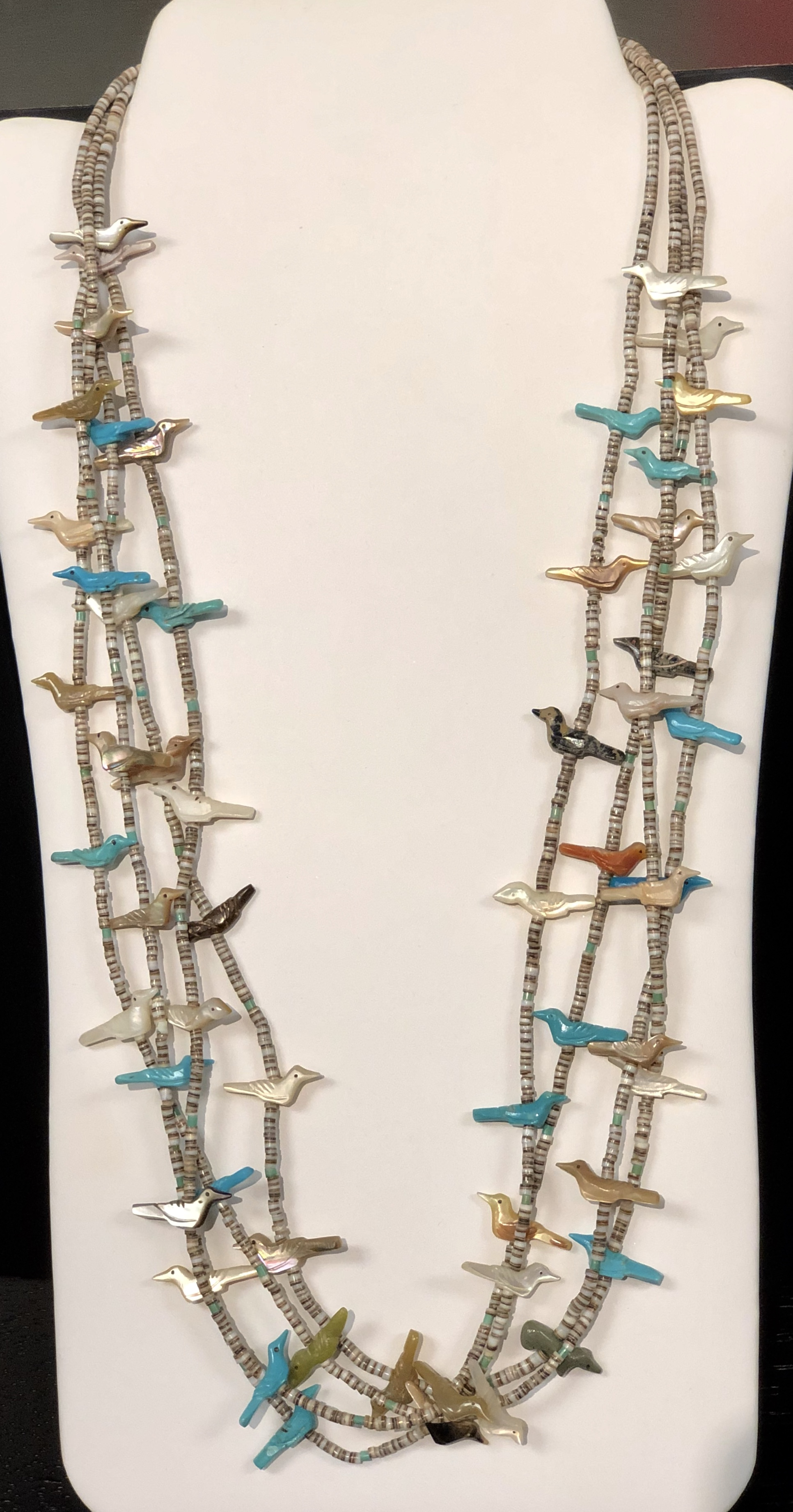 "Native American Fetish Necklace featuring four strands of high quality Turquoise and other assorted Stone Birds<br /> Pre-Owned, Excellent Condition<br /> 30"" long<br /> *Shipping includes Insurance*"