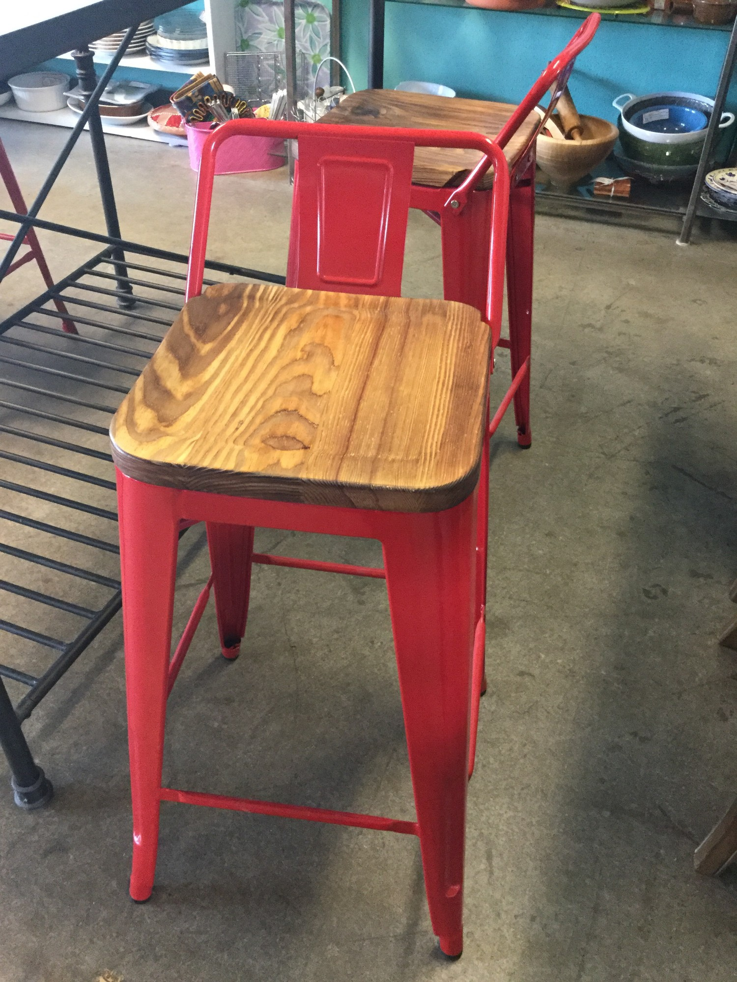 "Wood / Metal Counter Chairs, Red Metal Legs, Wood Set, Size: 26"" Set of 4"