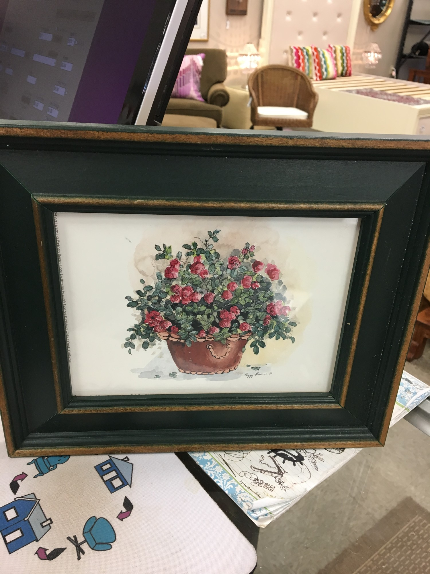 Potted Rose Print, Green, Size: 12x9