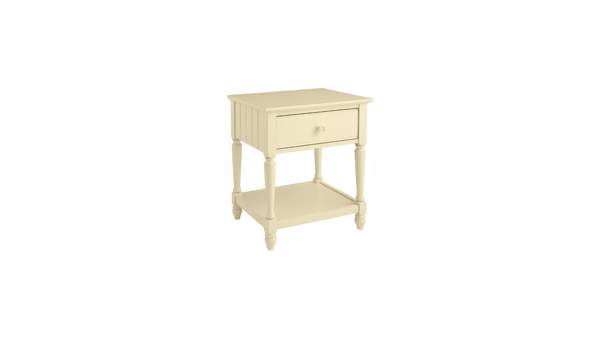 "Pair Pier One Side Tables, Cottage Collection Antique White Night Stands.<br /> Antique white<br /> 23""W x 18""D x 26""H<br /> Poplar, rubberwood, pine, beechwood, engineered wood, metal<br /> Clean with a soft, damp cloth<br /> Imported"