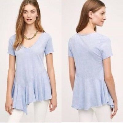 "Anthropologie, Eri + Ali Delia Swing Tee. Light periwinkle vintage fade look. Polyester-flax knit Asymmetric swing silhouette Machine wash 32.5""L"