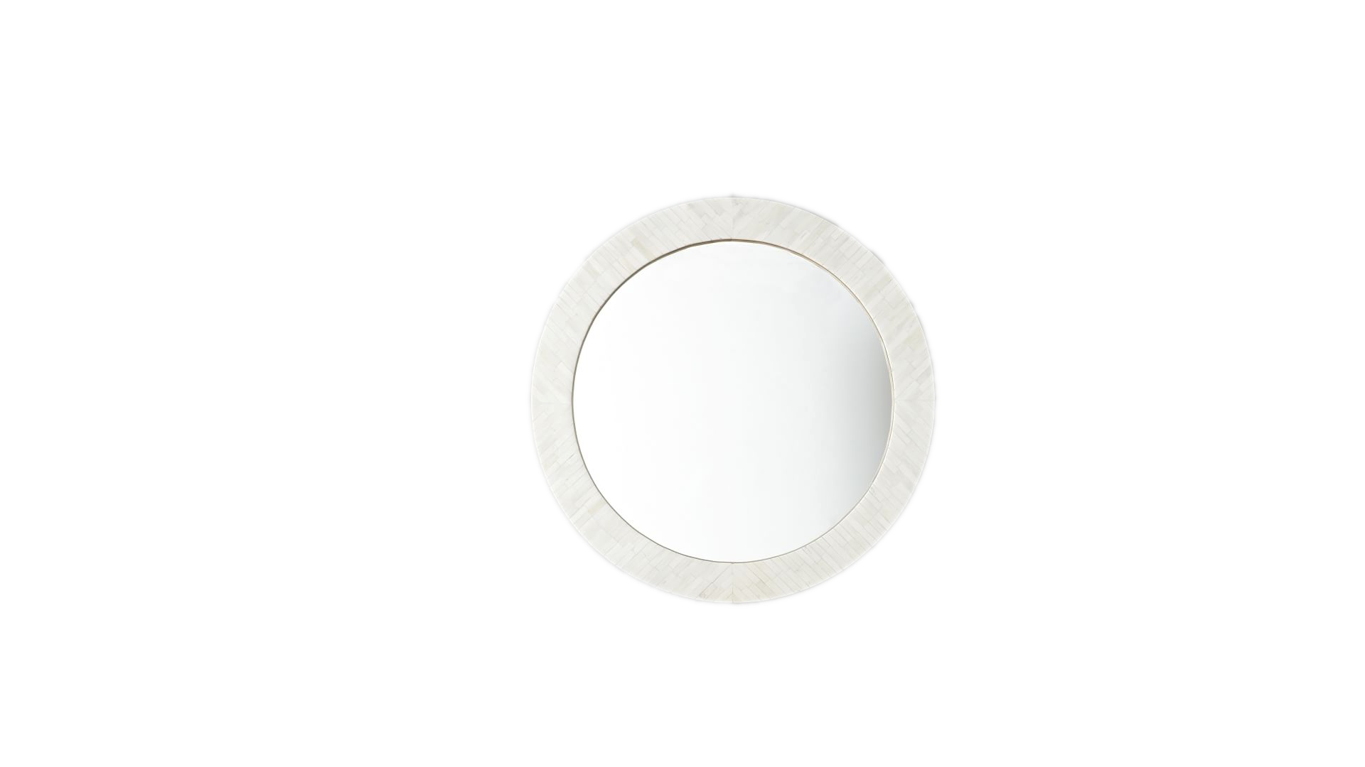 "West Elm Parson Mirror-Hand Crafted<br /> <br /> 30""diam. x 2""d.<br /> Solid wood frame.<br /> Hand-inlaid bone tile.<br /> Mirrored glass.<br /> Each mirror is one of a kind.<br /> Includes snap screw and anchor for wall mounting."