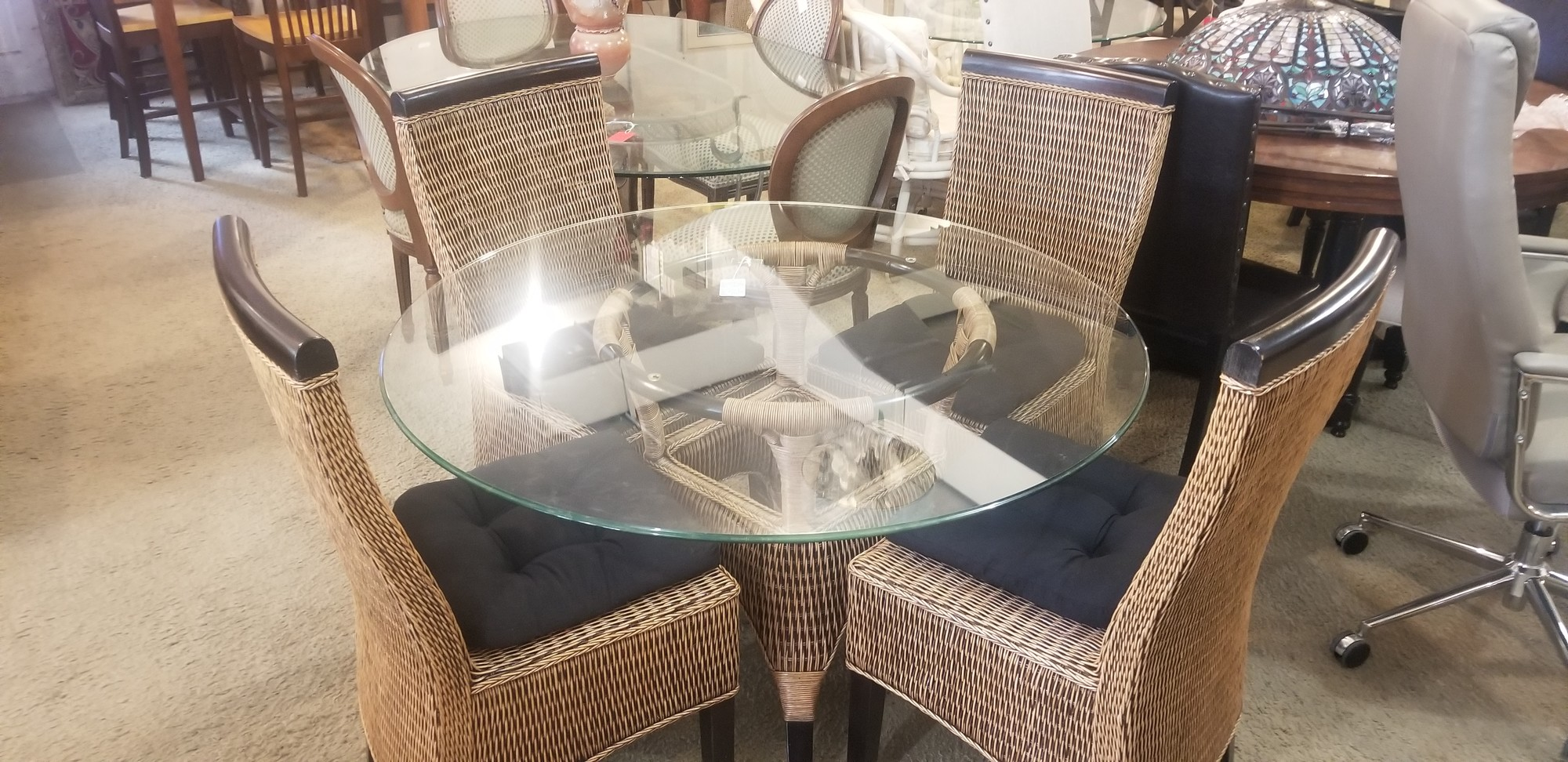 GLASS/WICKER DINING TABLE, None, Size: None