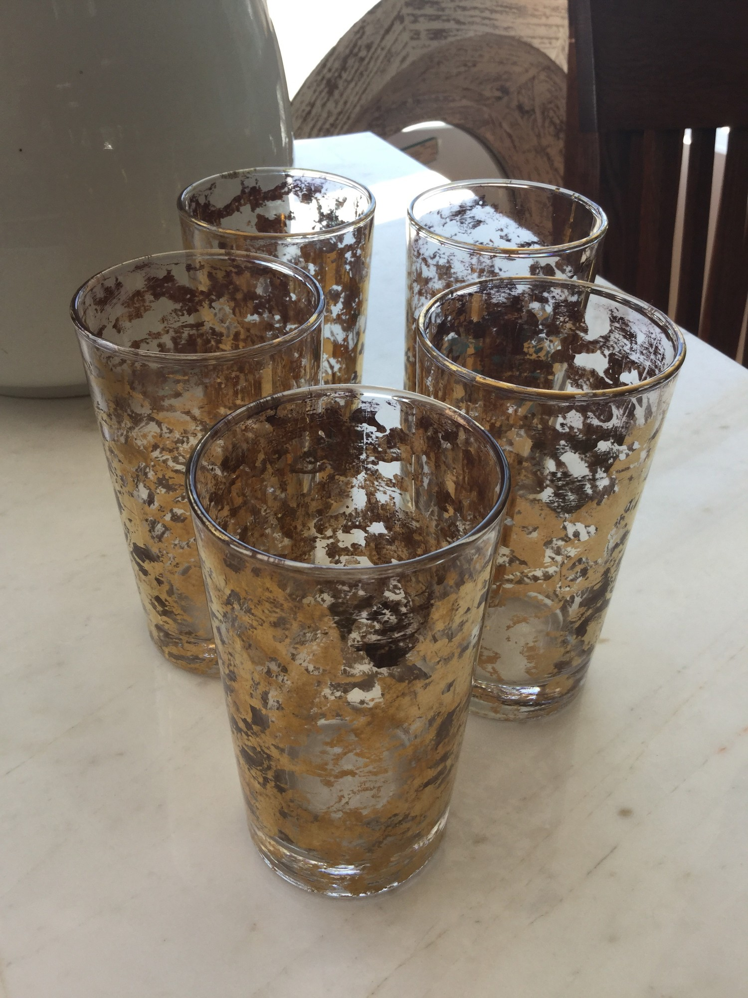 "Vintage Tumblers, Set of 5, Gold Marblized, Size: 5""h."