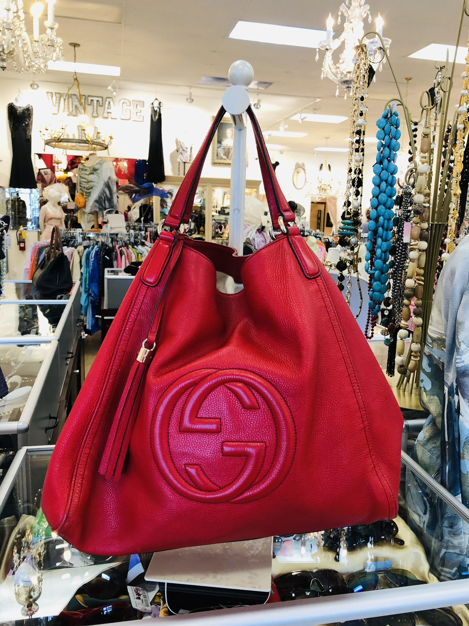 "Gucci red leather Soho shoulder bag, hobo<br /> <br /> LARGE<br /> <br /> Measurements:<br /> 16.75"" L x 8.5"" W x 15.25"" H<br /> <br /> some wear on straps, see photos"