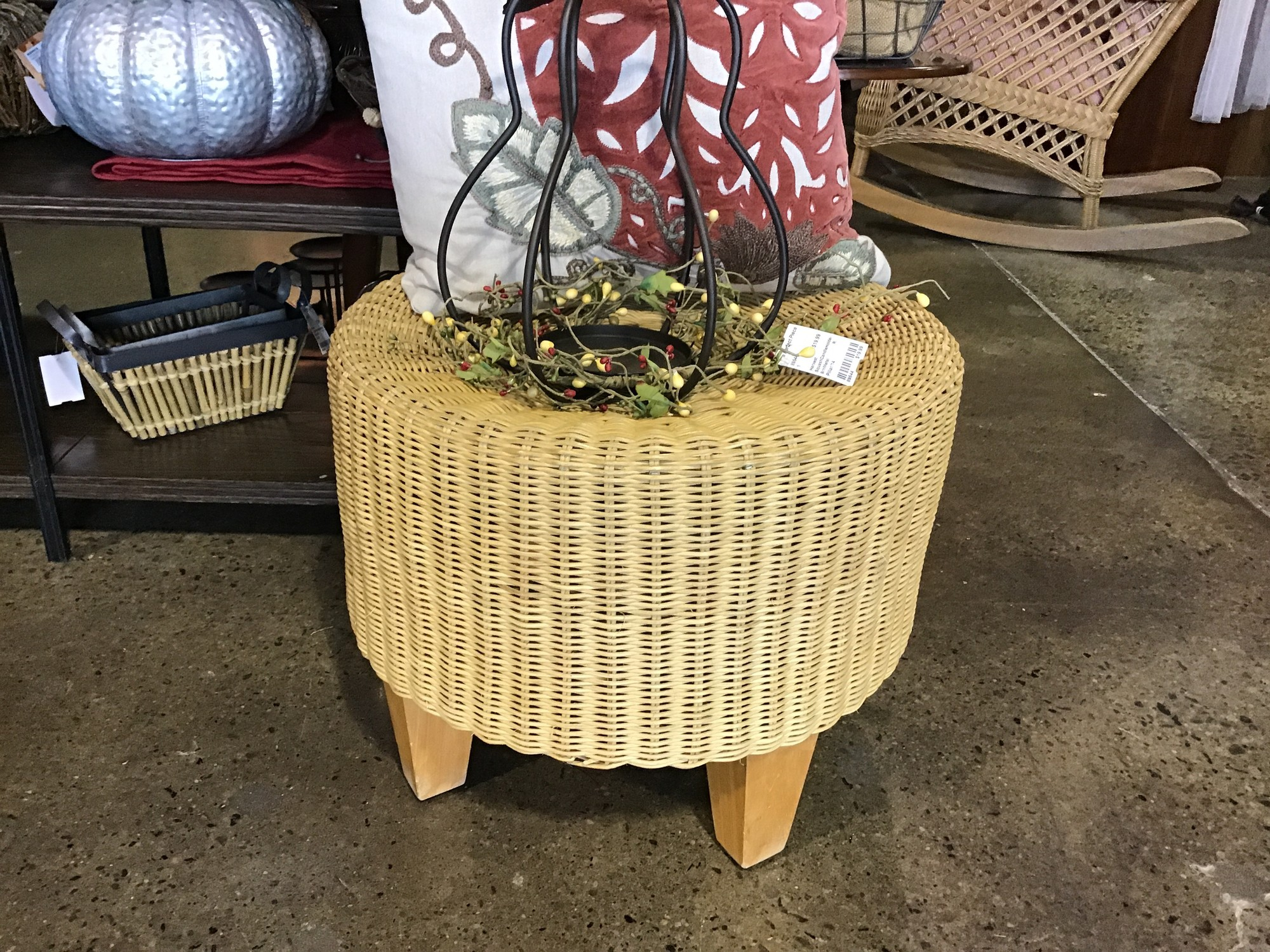 "Are you looking for that perfect ottoman for your space? This small round wicker ottoman might be perfect!<br /> Dimensions are 19"" x 16""."