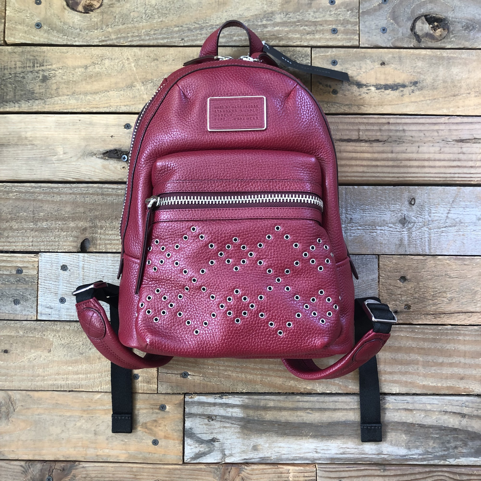 "Marc By Marc Jacobs Leather Grommet Backpack<br /> Color: Red<br /> Size: 12"" x 10"" x 5"""