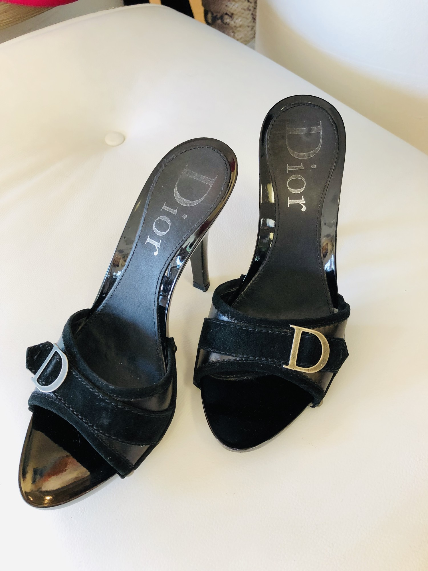 Dior black patent mules<br /> <br /> size 7